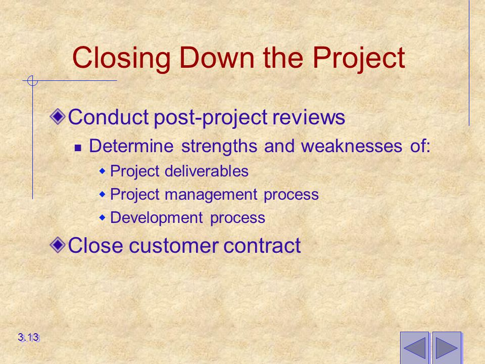 Closing Down the Project