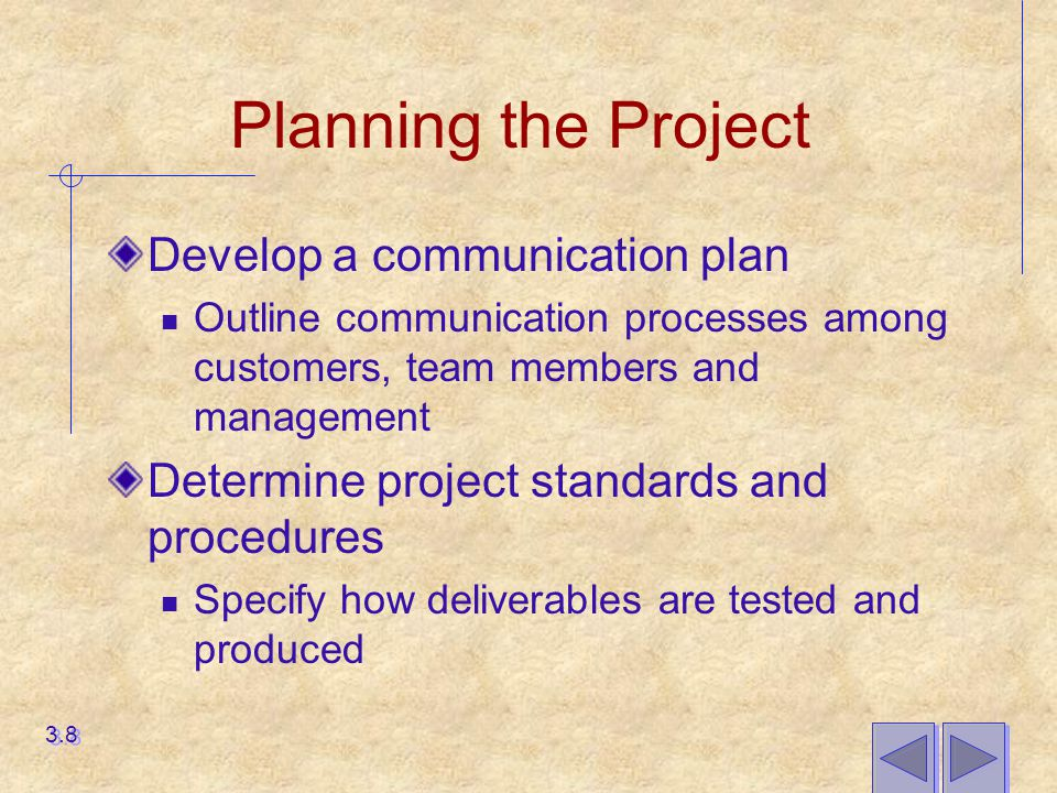 Planning the Project Develop a communication plan