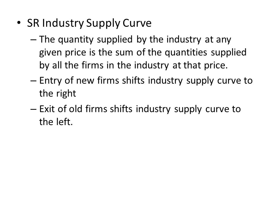 SR Industry Supply Curve