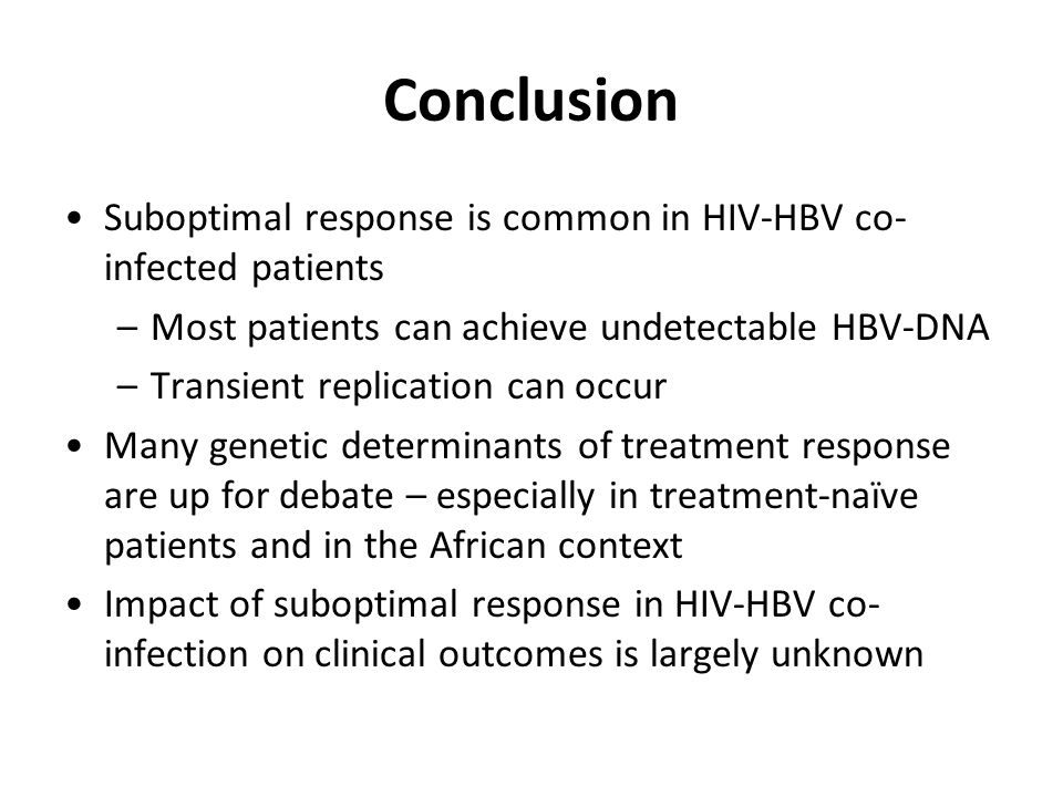 Conclusion Suboptimal response is common in HIV-HBV co-infected patients. Most patients can achieve undetectable HBV-DNA.