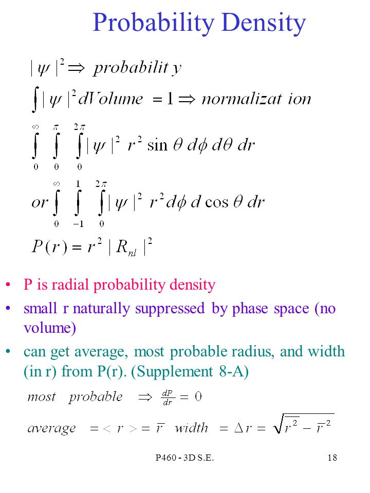 Probability Density P is radial probability density