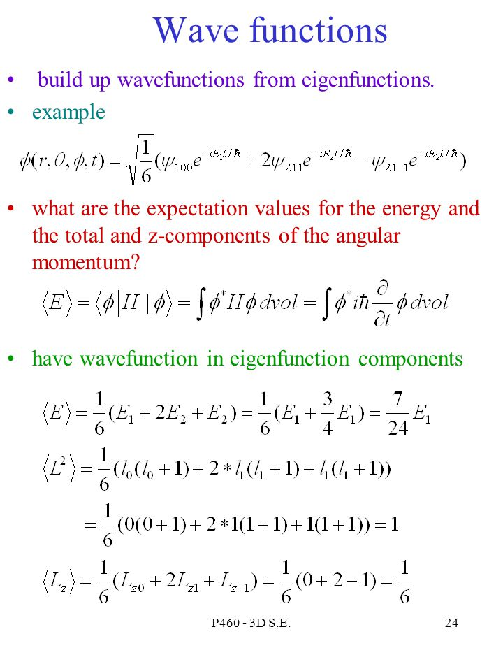 Wave functions build up wavefunctions from eigenfunctions. example