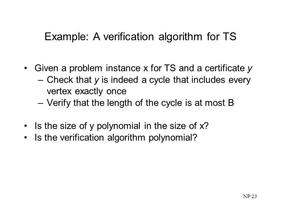 Example: A verification algorithm for TS