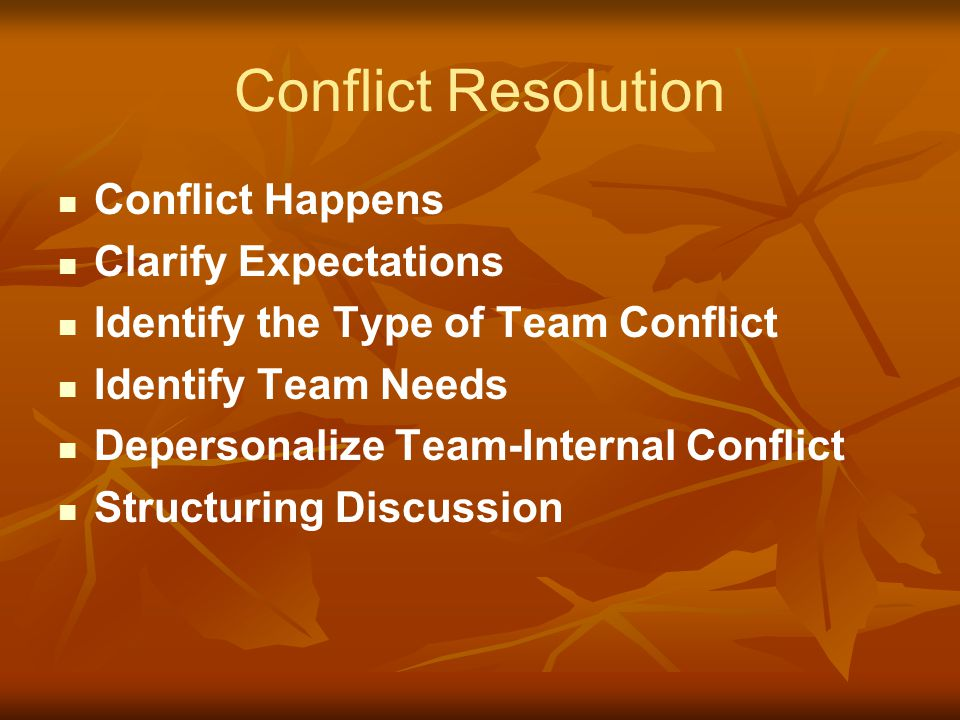 Conflict Resolution Conflict Happens Clarify Expectations