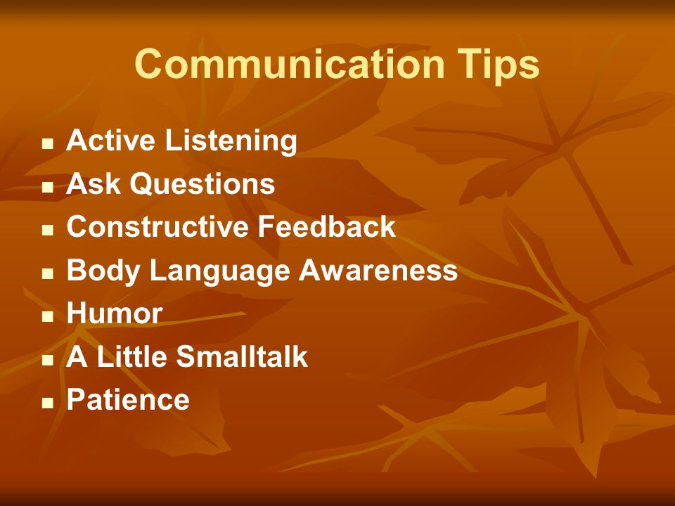 Communication Tips Active Listening Ask Questions