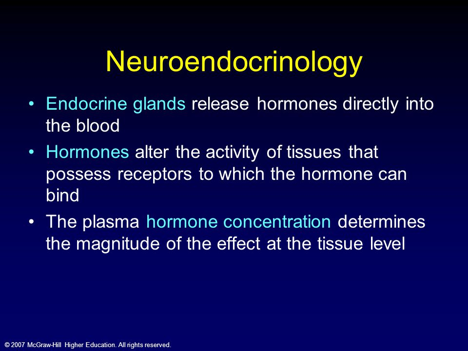 Neuroendocrinology Endocrine glands release hormones directly into the blood.