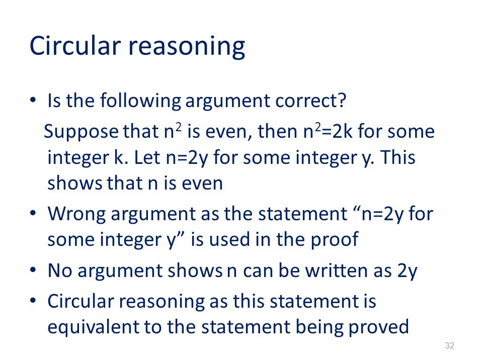 Circular reasoning Is the following argument correct