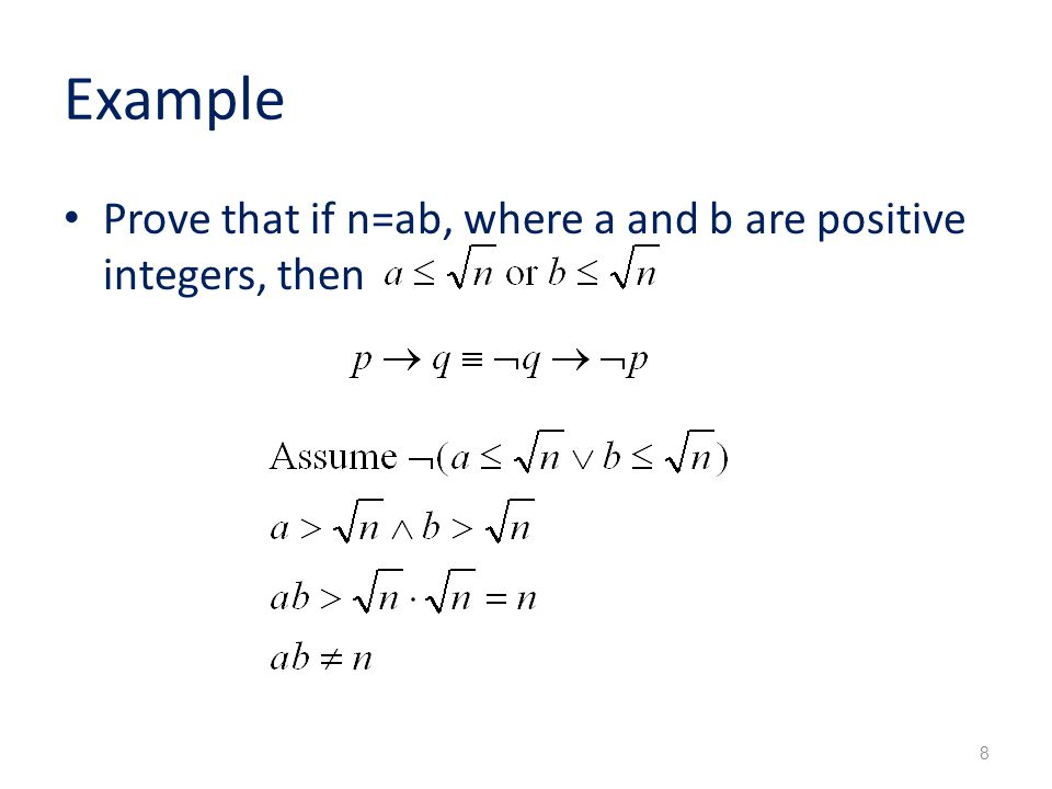 Example Prove that if n=ab, where a and b are positive integers, then