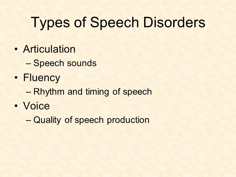 types of speech disorders