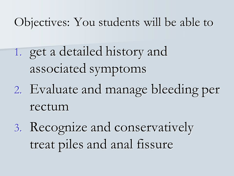 Objectives: You students will be able to