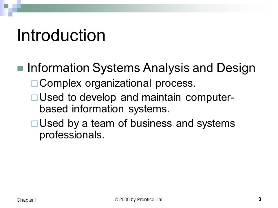 Introduction Information Systems Analysis and Design