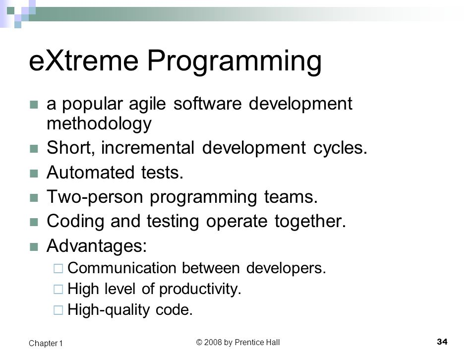 eXtreme Programming a popular agile software development methodology