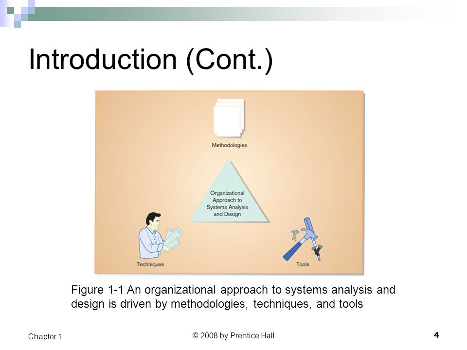 Introduction (Cont.) Figure 1-1 An organizational approach to systems analysis and. design is driven by methodologies, techniques, and tools.