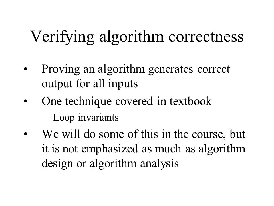 Verifying algorithm correctness