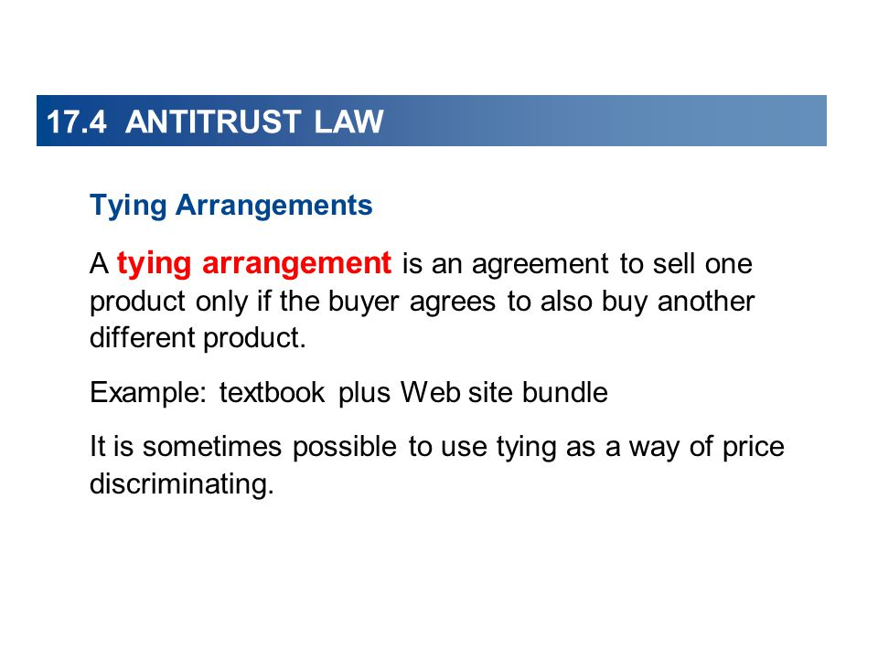 microsoftís bundling and tying arrangements essay The sherman antitrust act and the clayton prohibit such tying arrangements where the entity maintains extensive control of product supply federal antitrust laws are administrated by the department of justice and the federal trade commission 4.