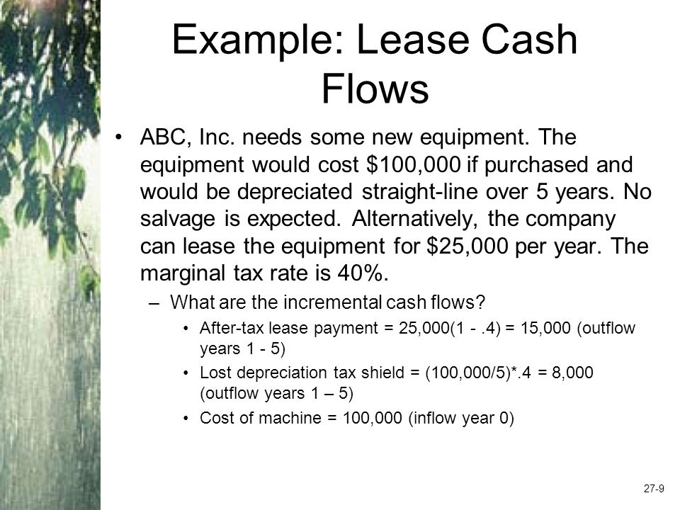 Lease or Buy The company needs to determine whether it is better off borrowing the money and buying the asset, or leasing.