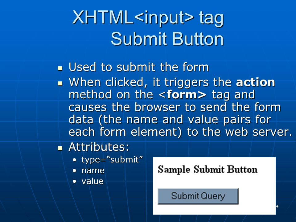 XHTML<input> tag Submit Button