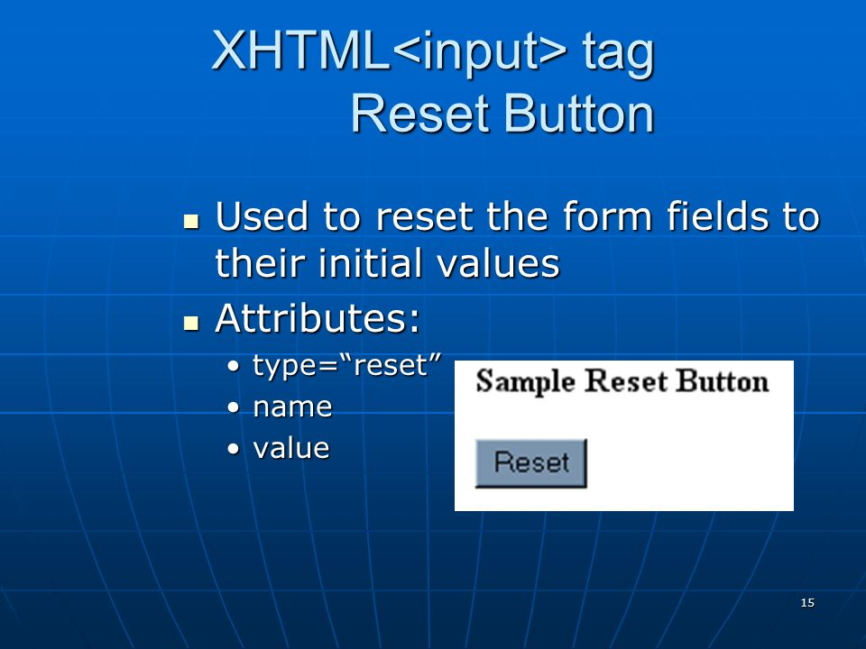 XHTML<input> tag Reset Button