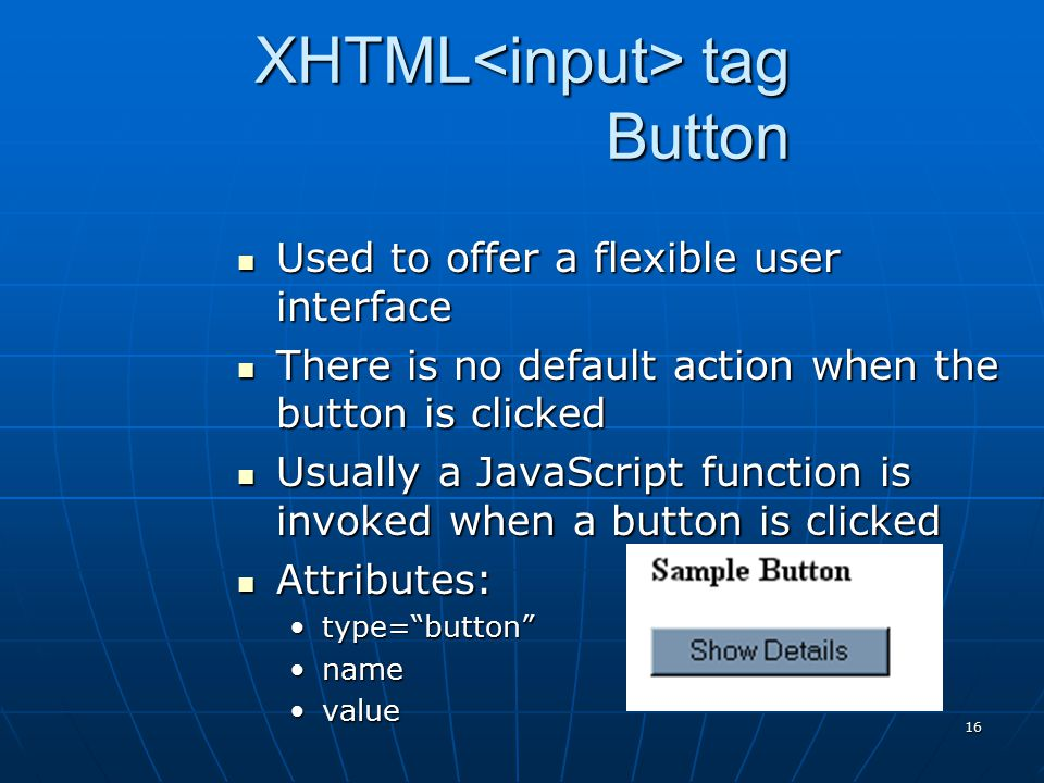 XHTML<input> tag Button