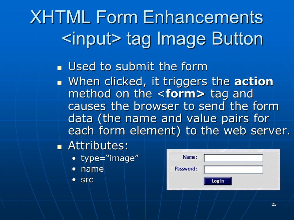 XHTML Form Enhancements <input> tag Image Button