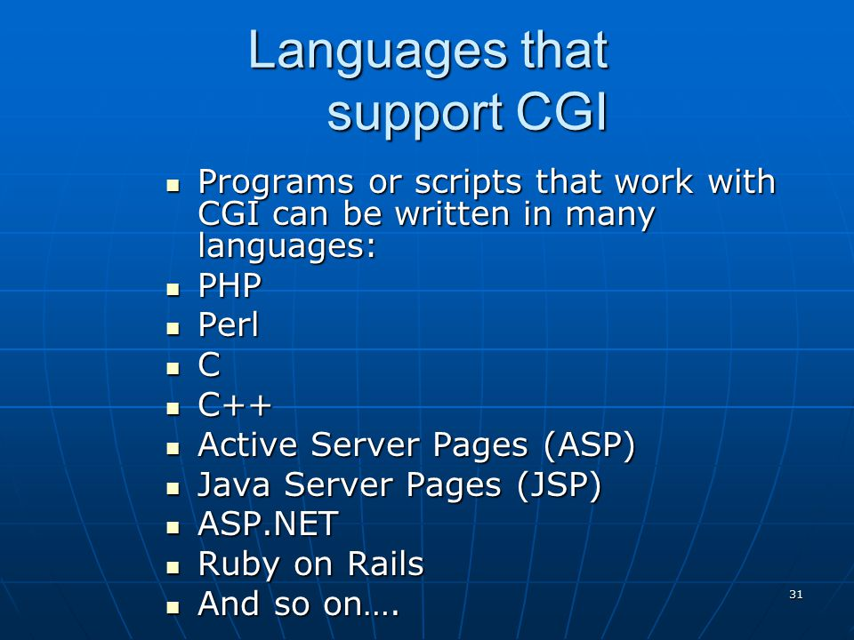 Languages that support CGI