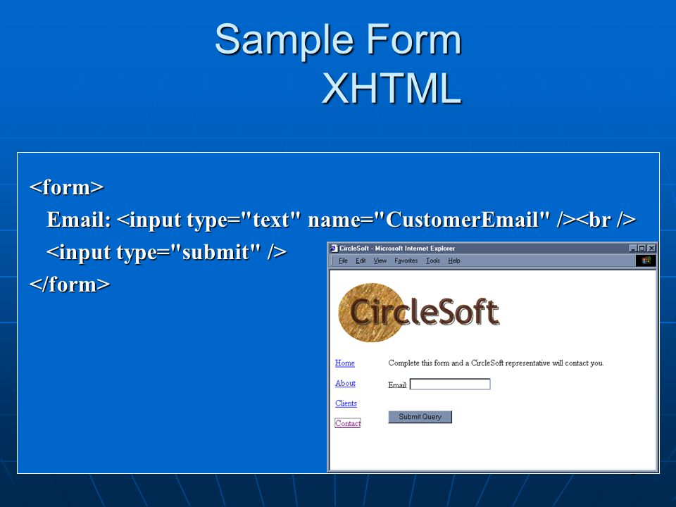 Sample Form XHTML <form>