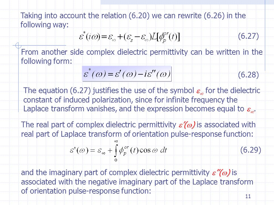 Lecture 6 The Dielectric Response Functions Superposition Principle