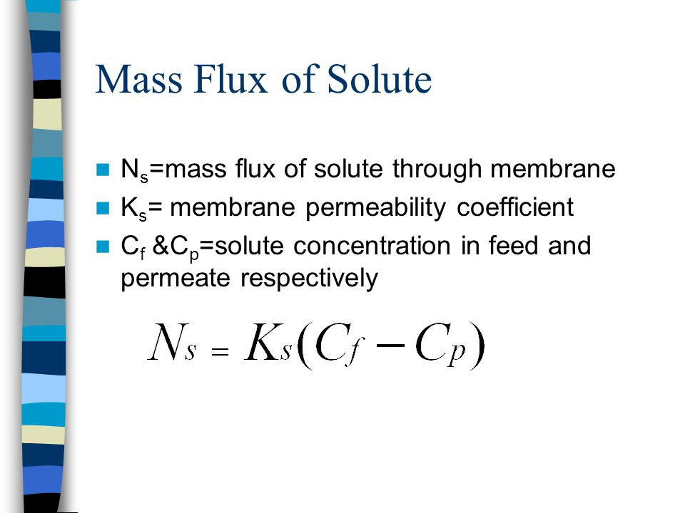 Mass Flux of Solute Ns=mass flux of solute through membrane