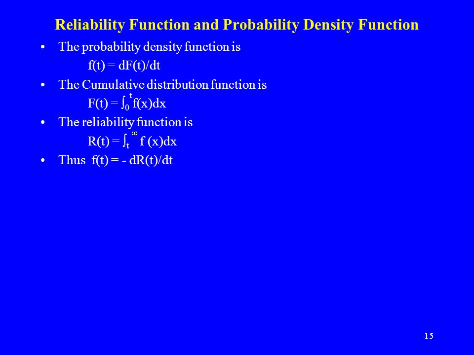Reliability Function and Probability Density Function