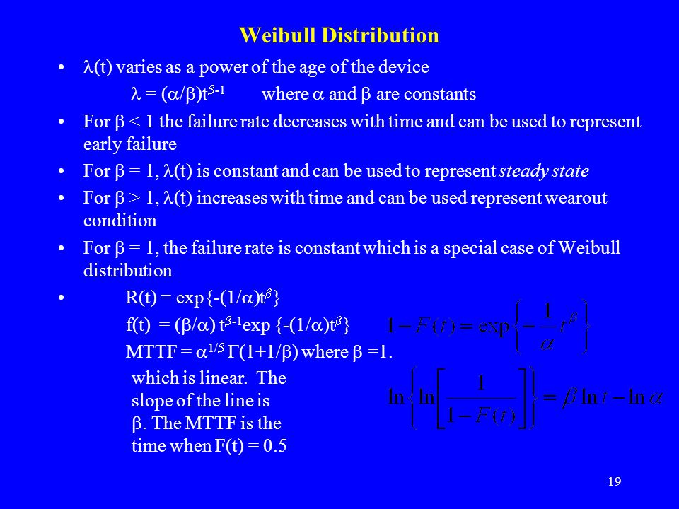 Weibull Distribution (t) varies as a power of the age of the device