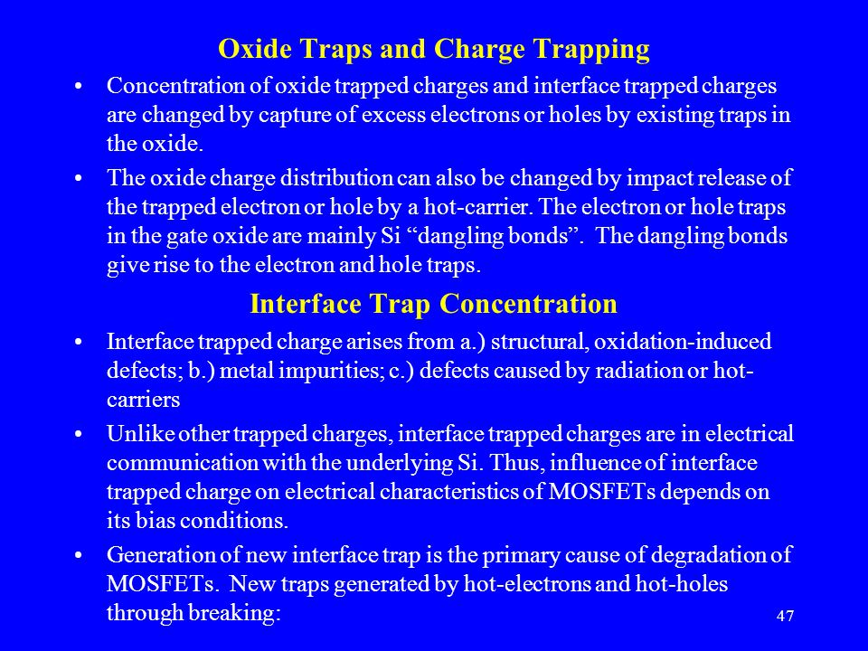 Oxide Traps and Charge Trapping