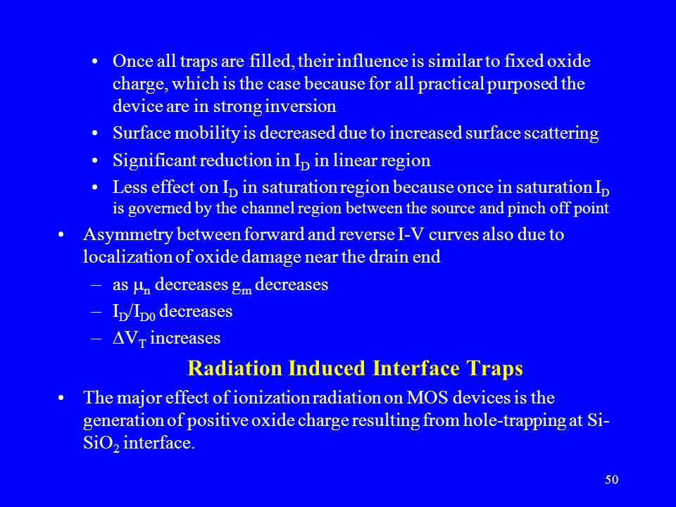 Radiation Induced Interface Traps