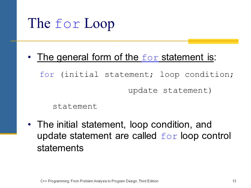 The for Loop The general form of the for statement is: