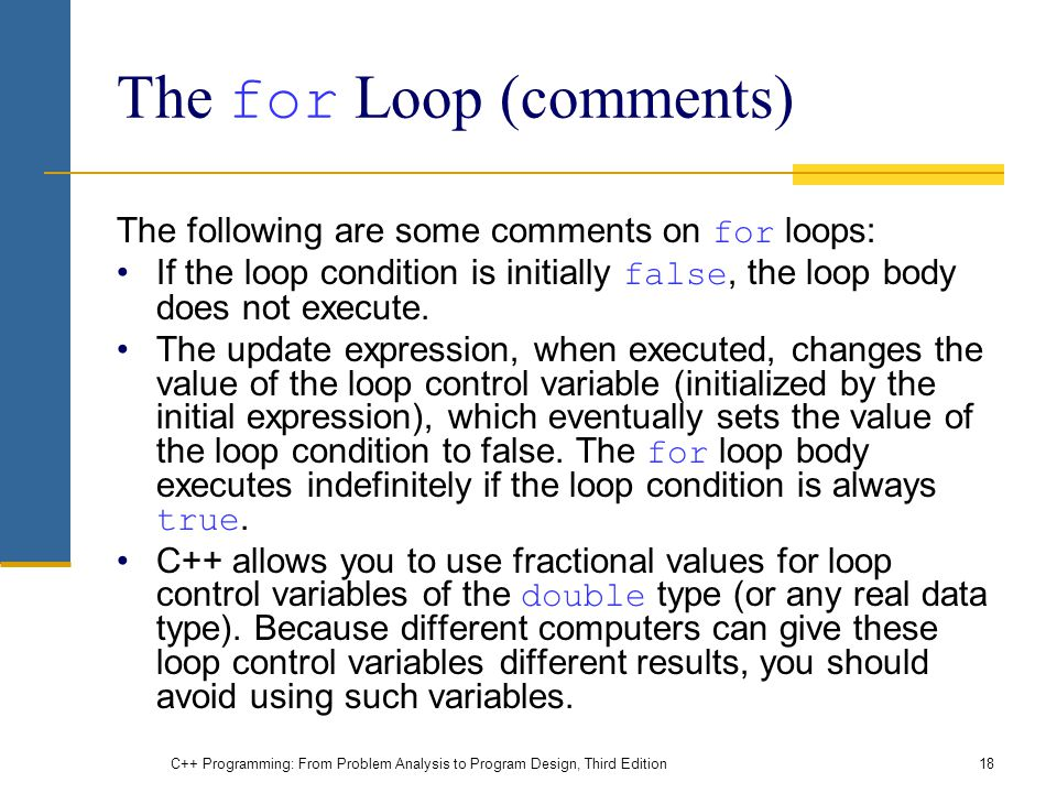 The for Loop (comments)