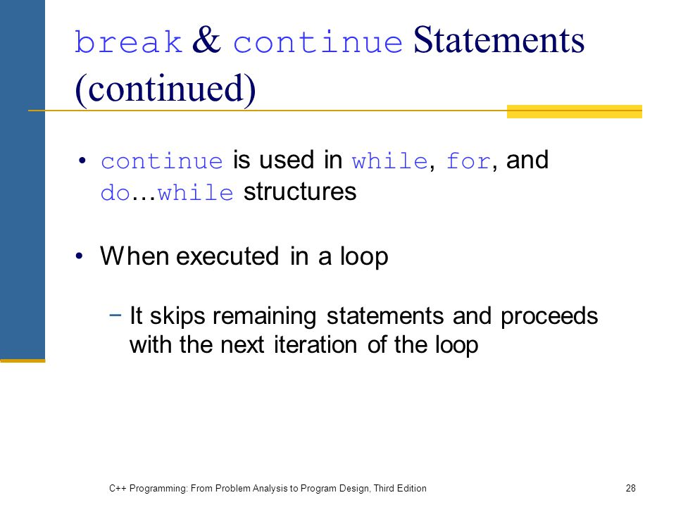 break & continue Statements (continued)