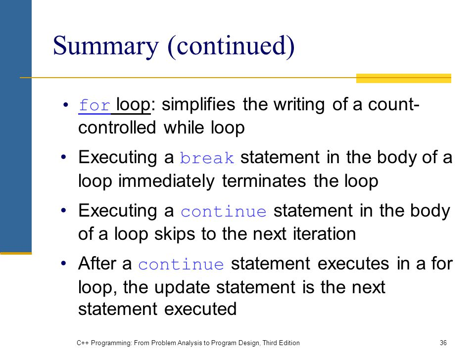 Summary (continued) for loop: simplifies the writing of a count-controlled while loop.