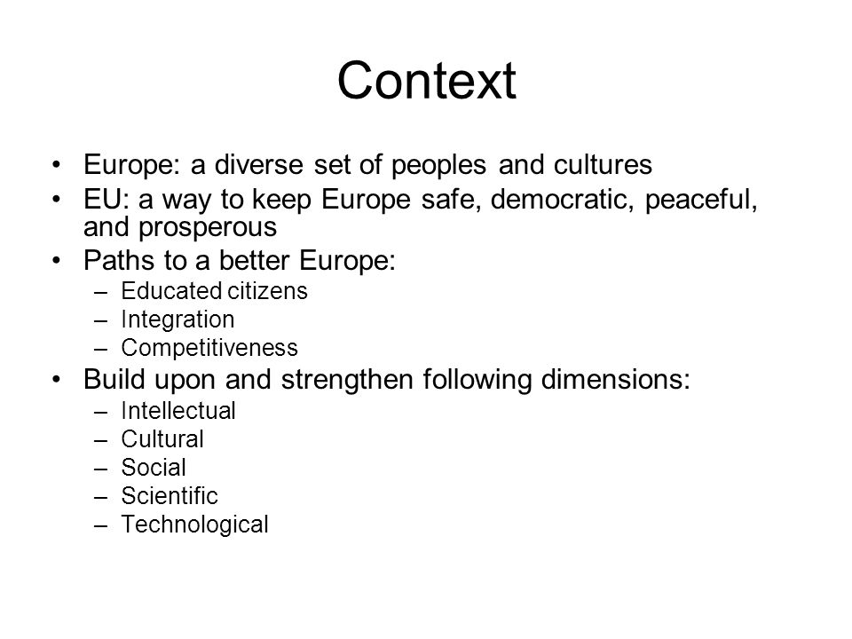 Context Europe: a diverse set of peoples and cultures