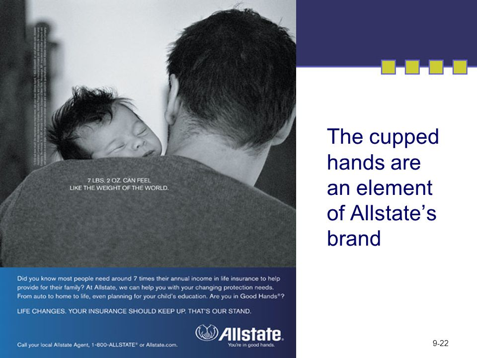 The cupped hands are an element of Allstate's brand