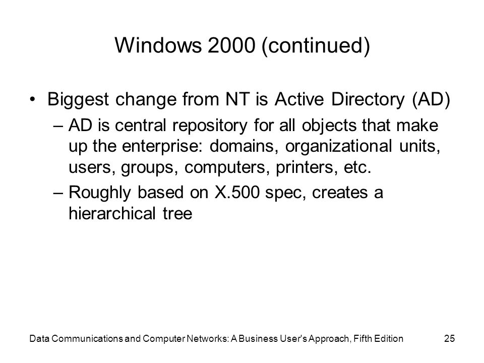 Windows 2000 (continued) Biggest change from NT is Active Directory (AD)