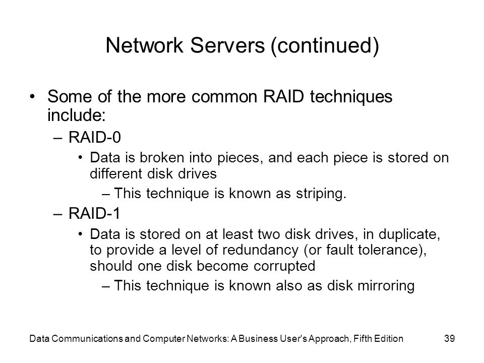 Network Servers (continued)