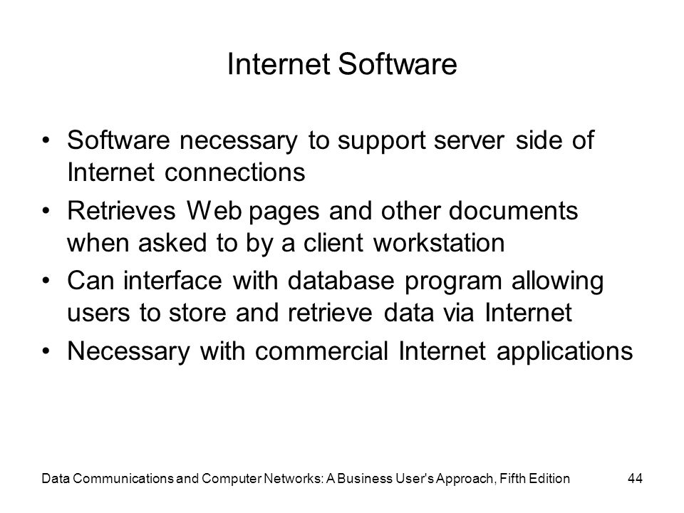 Internet Software Software necessary to support server side of Internet connections.