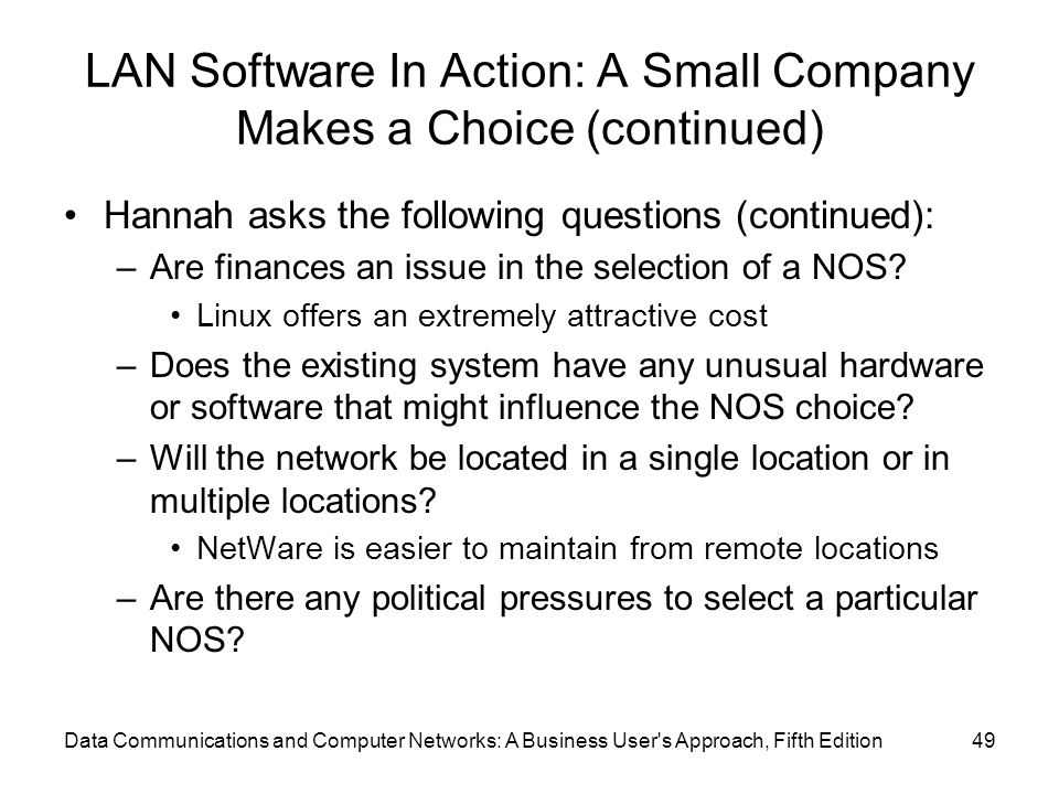LAN Software In Action: A Small Company Makes a Choice (continued)