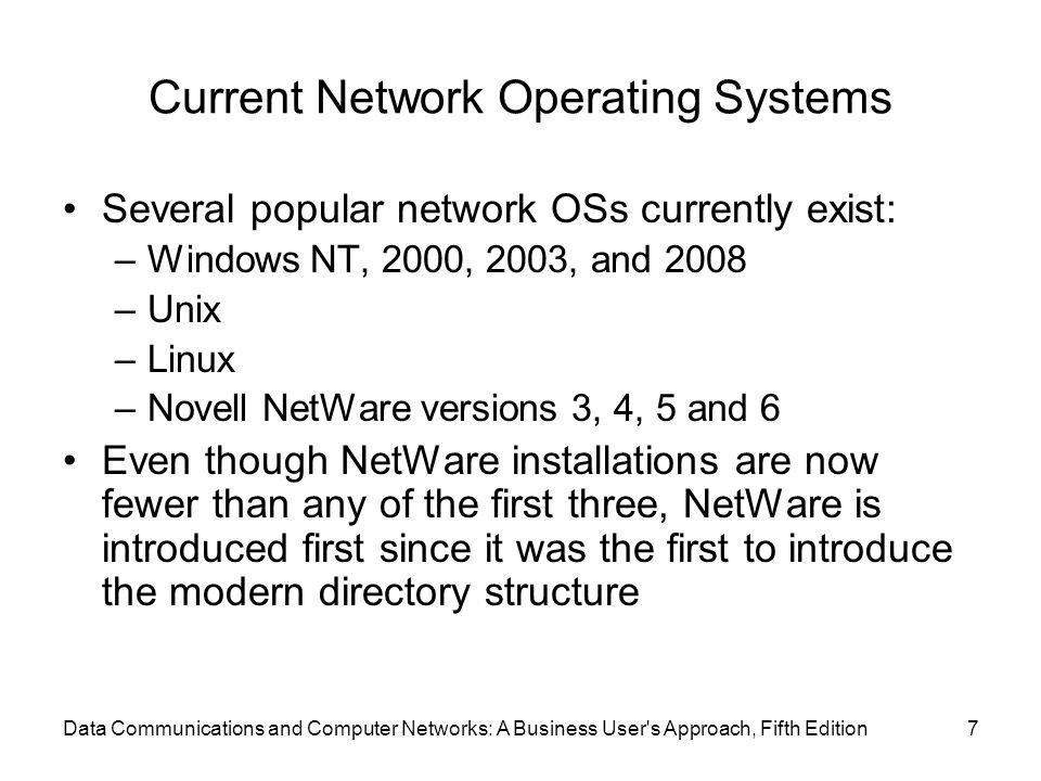 Current Network Operating Systems