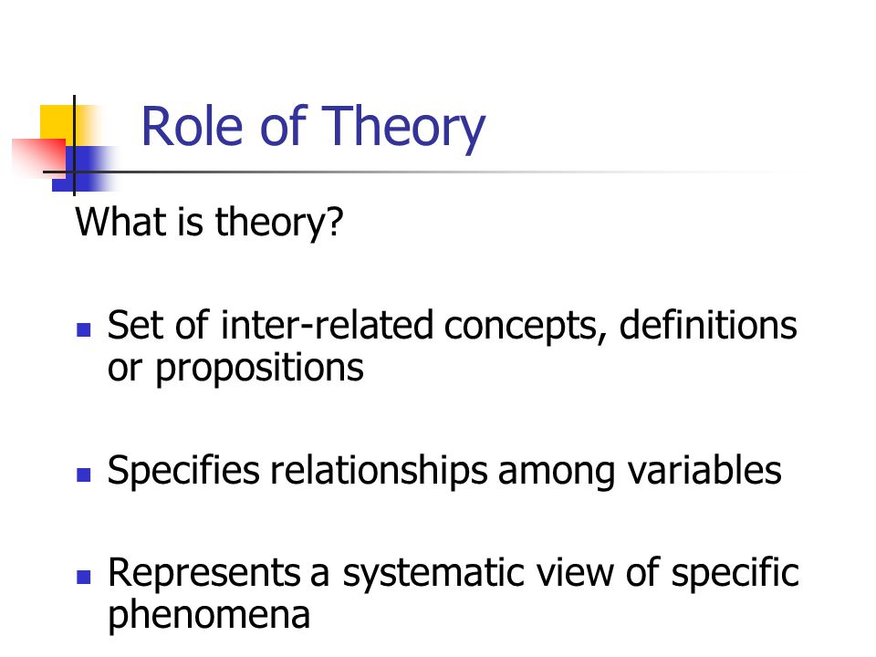 Role of Theory What is theory