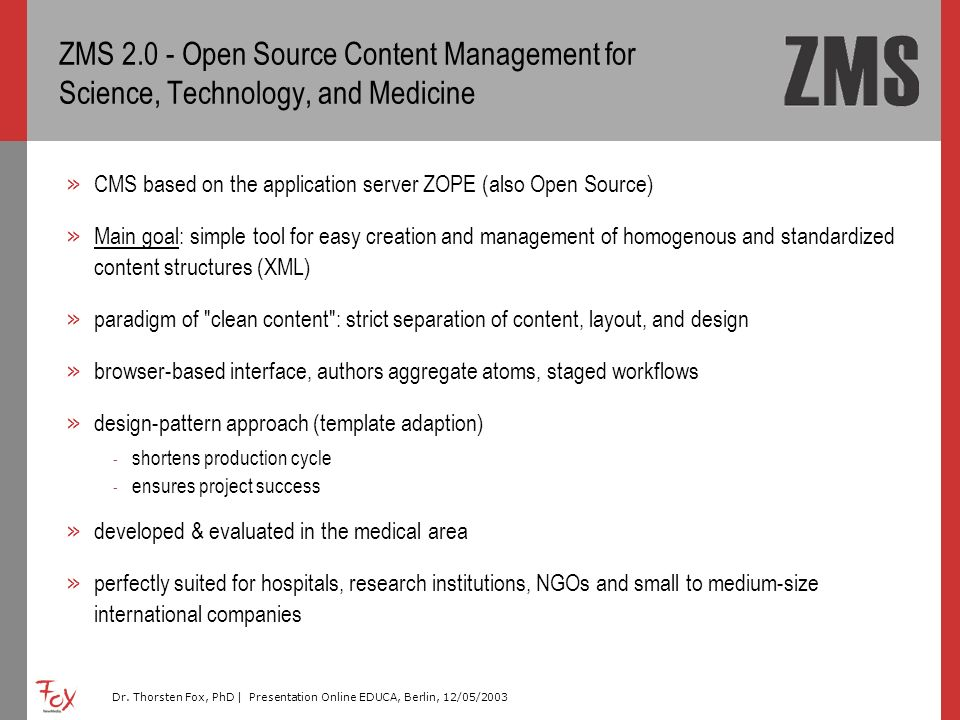 ZMS Open Source Content Management for Science, Technology, and Medicine
