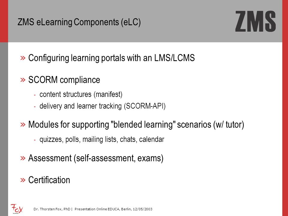 ZMS eLearning Components (eLC)