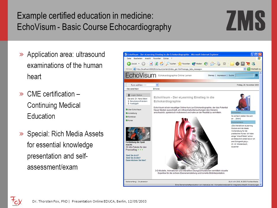 Example certified education in medicine: EchoVisum - Basic Course Echocardiography