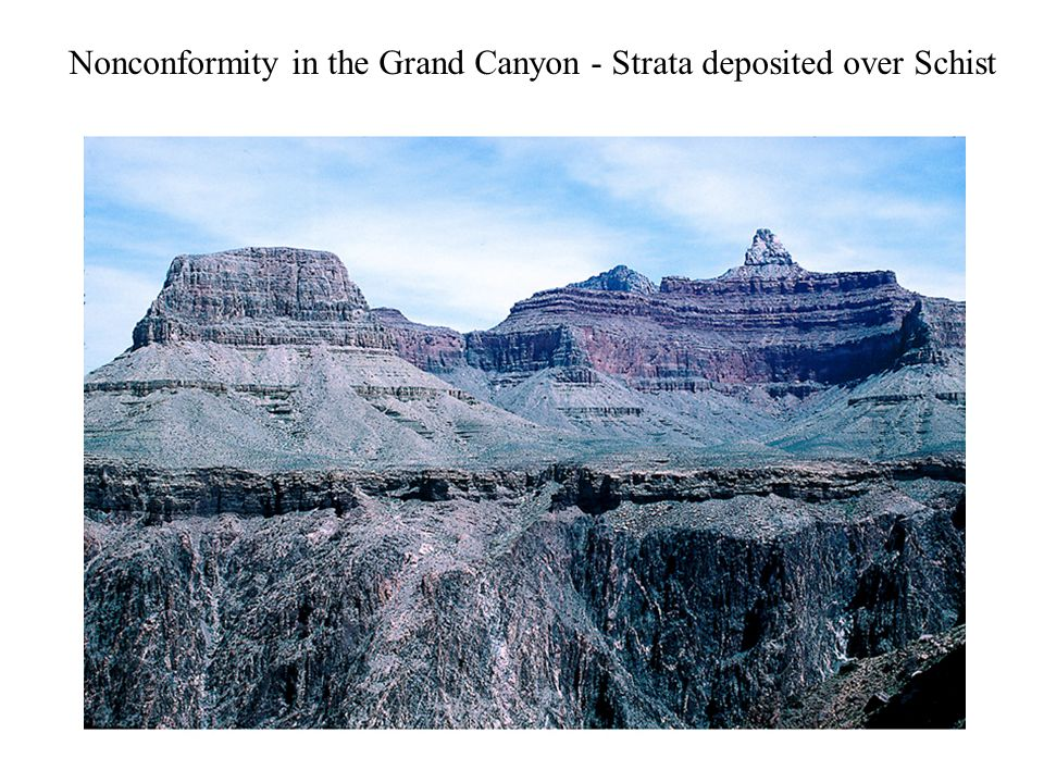 Nonconformity in the Grand Canyon - Strata deposited over Schist