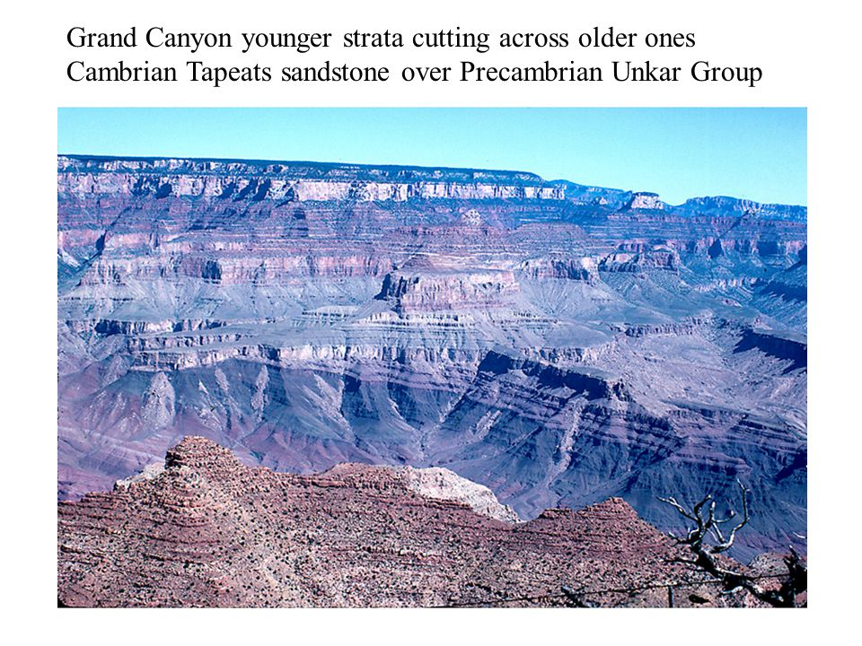 Grand Canyon younger strata cutting across older ones