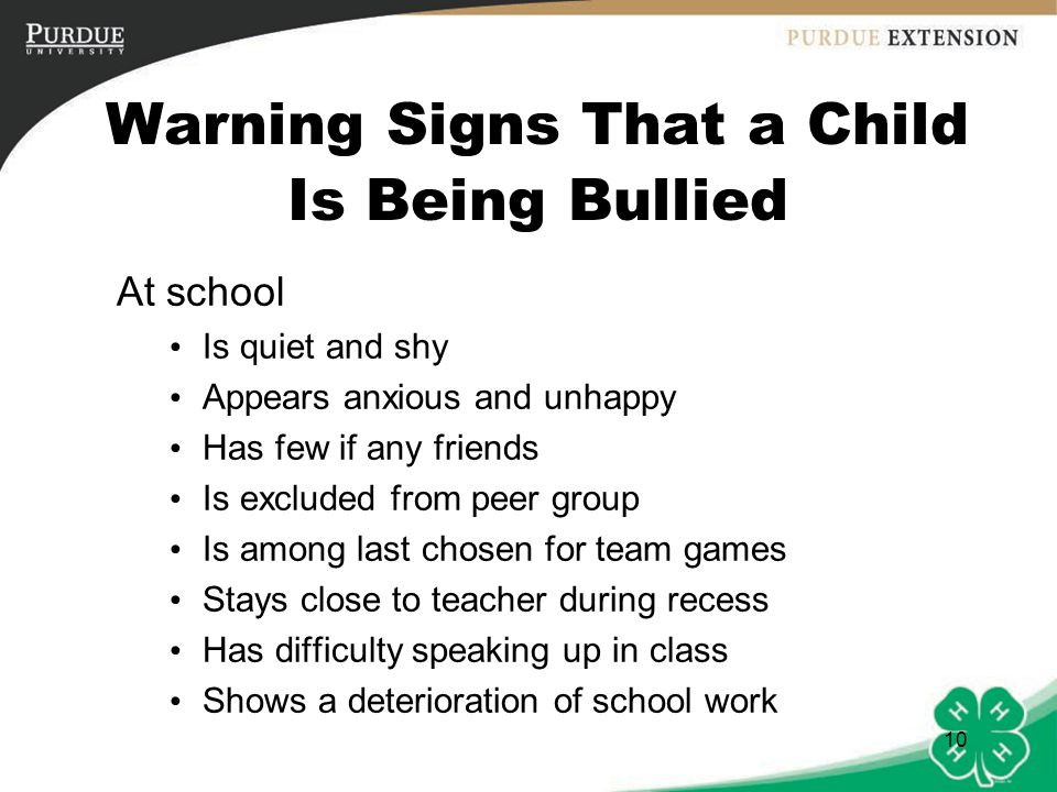 Warning signs of being bullied